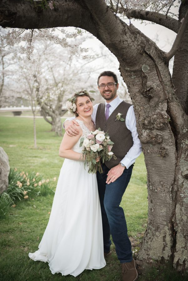 wedding under cherry trees in athens ohio
