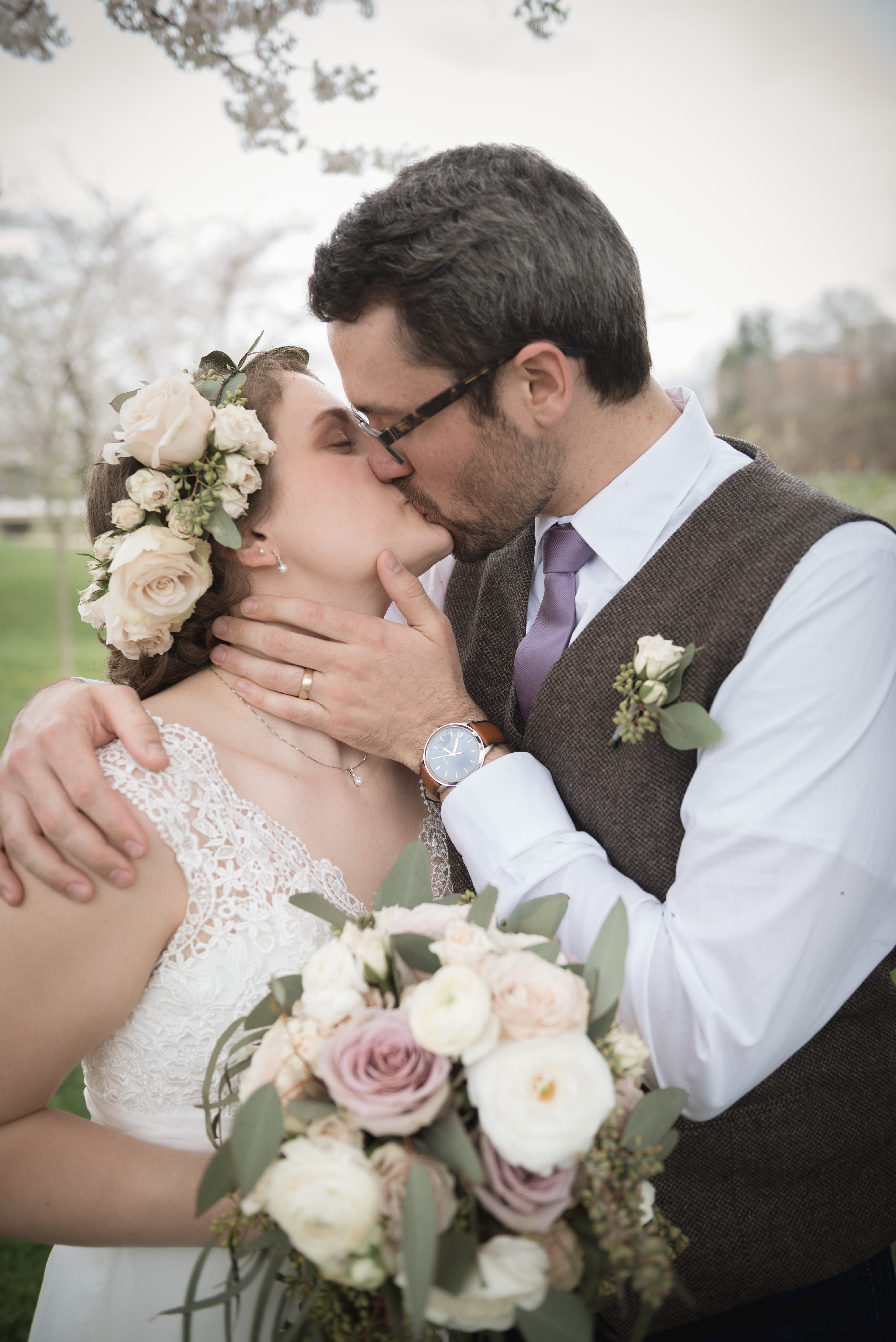wedding couple photography at cherry blossom trees in Athens Ohio