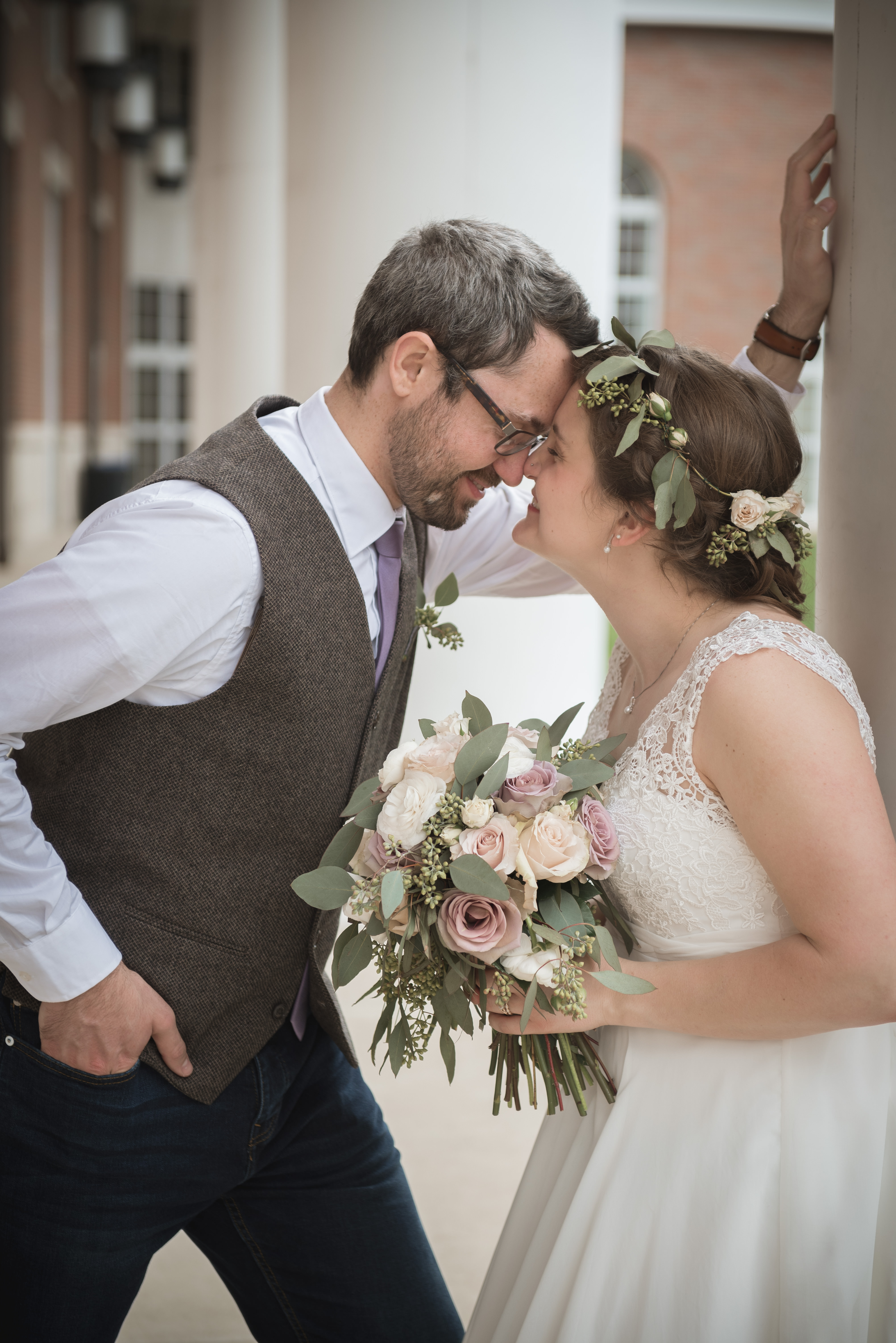 bride with flower crown and groom at Walter Hall Ohio University in Athens