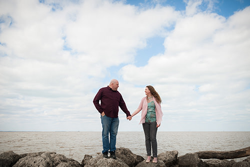 couple engaged by lake in maumee ohio