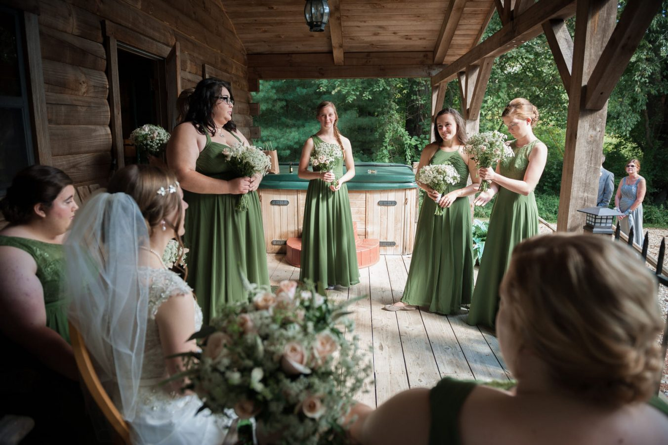 Bridal Party at Heart of the Country Event Barn Cabin