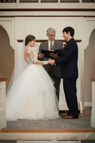 wedding couple happy at Galbreath Chapel at Ohio University in Athens Ohio