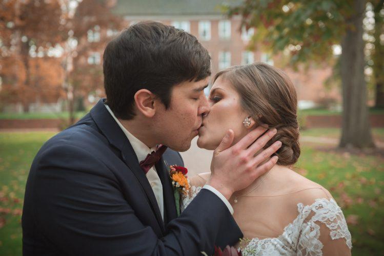 Dramatic kissing pose at Ohio University Wedding in the fall Athens Ohio