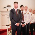 Groom waiting for bride in church at Granville Chapel Ohio