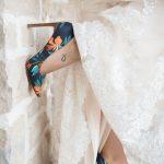 detail photo of unique bridal shoe