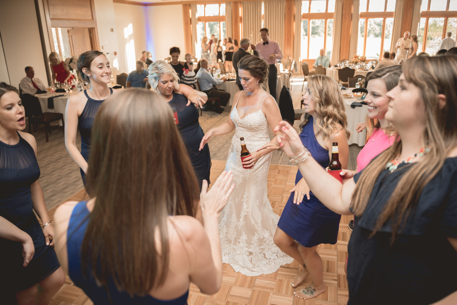 Bride dancing at the Virtues Golf Course in Nashport Ohio