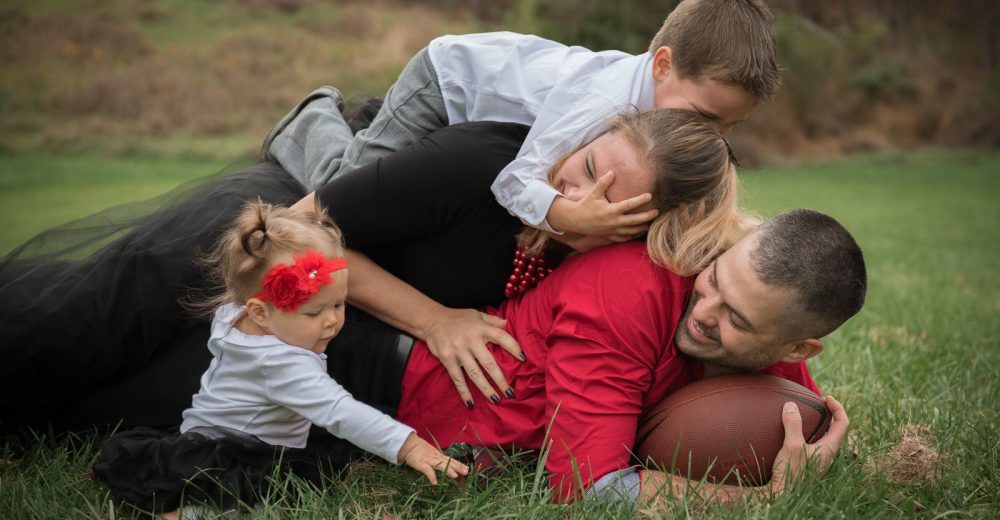 fall family group lifestyle photography playing football