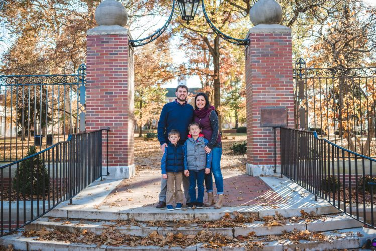 Family portrait in Athens Ohio on College Green at Ohio University