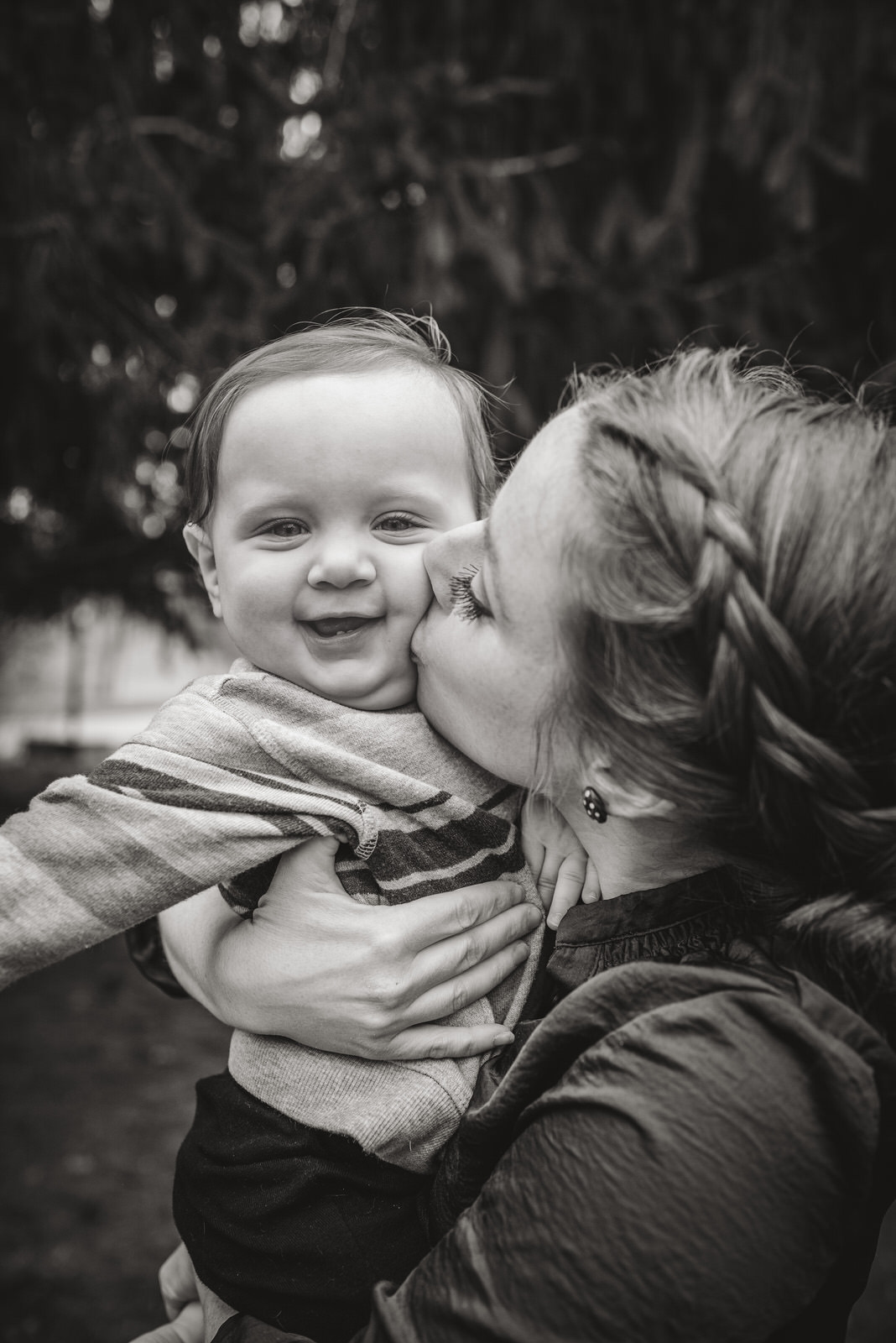mom and son during family photography session in Athens Ohio
