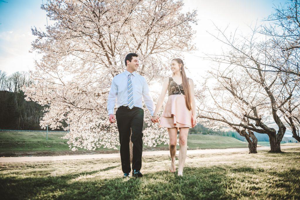 world famous Athens Ohio Cherry Trees engagement session